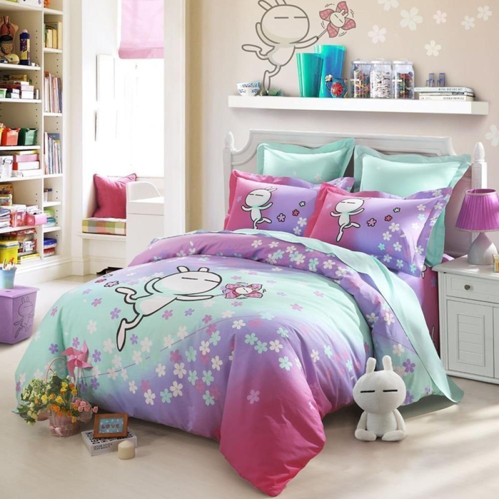 $72.99 73.68% off LOVO Tuzki Romantic Sakura Cotton 4-Piece Bedding Set Duvet Cover Flat Sheet 2 Pillowcases King - Linkymall