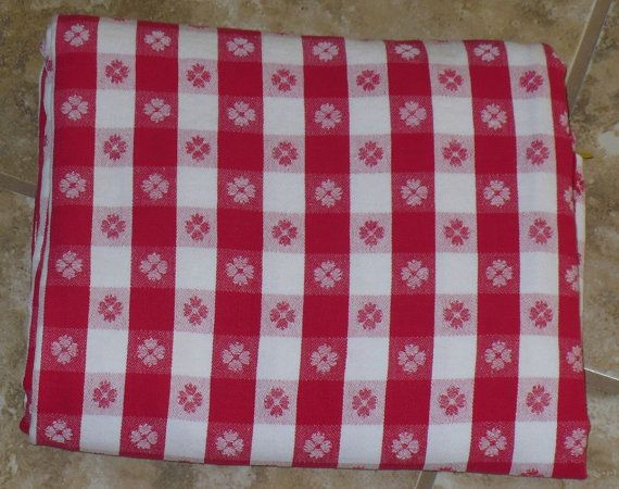 Vintage Red And White Checkered Tablecloth By Klassiquekreations