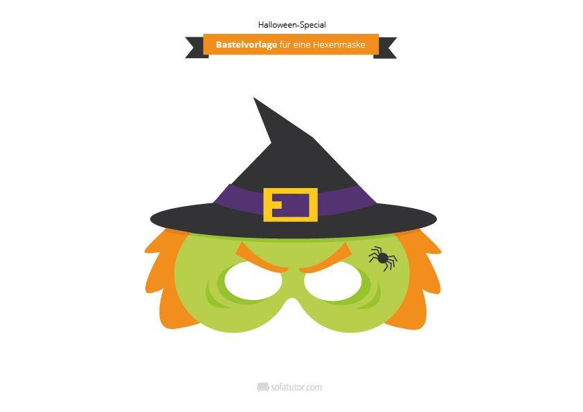 Masken #basteln auf dem #Kindergeburtstag, z. B. eine Hexenmaske ...