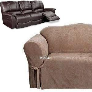 Reclining Sofa Slipcover Suede Taupe Dual Recliner Couch