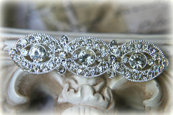 Large Rhinestone Brooch Pin ~ Crystal Brooch ~ Bridal Jewelry, Costume Jewelry, Crafting, etc RH-002