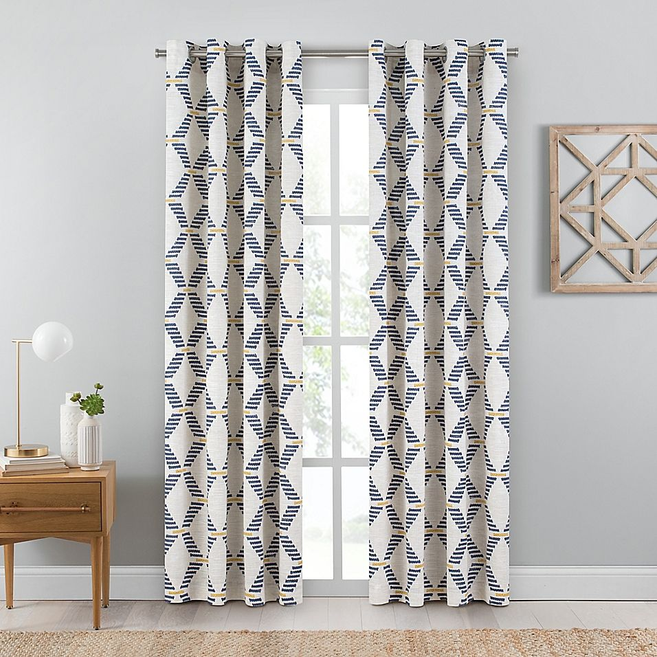 Emmett Geometric 63 Inch Grommet Window Curtain Panel In Indigo