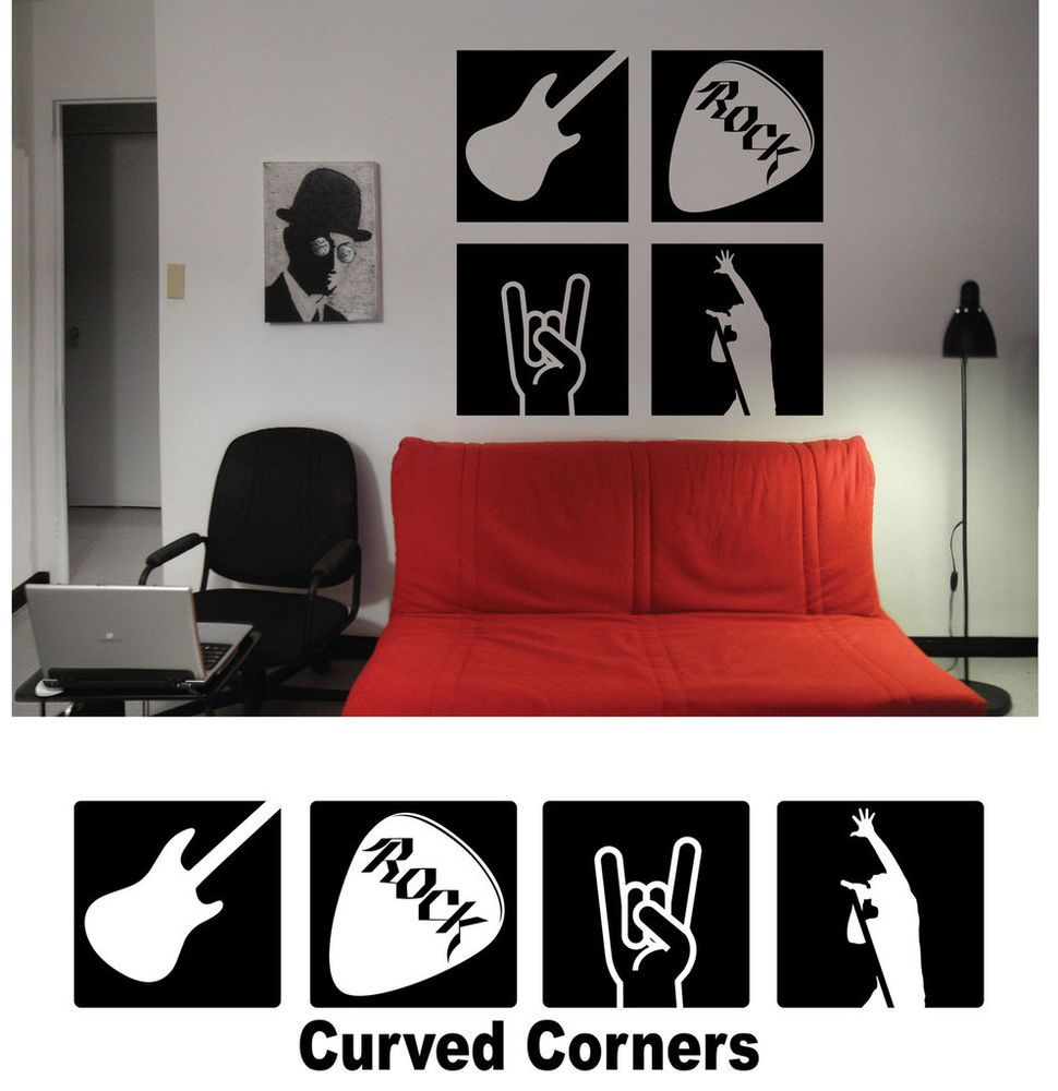 Rock N Roll Star Panel Vinyl Wall Decal Sticker Home Decor P004 Removablemattevinyldecal