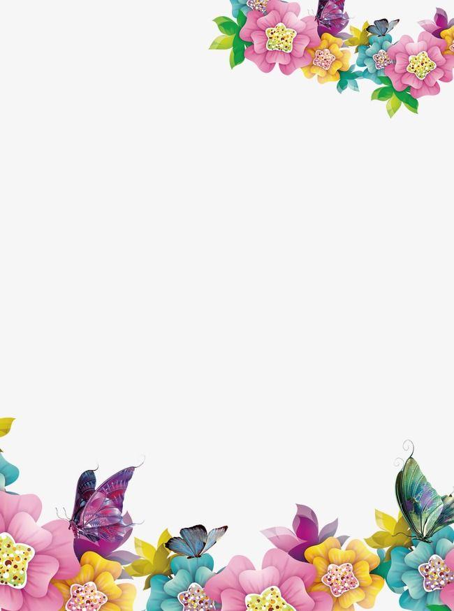Frontera floral creativo, Flores, Fronteras Creativas, Mariposa PNG ...