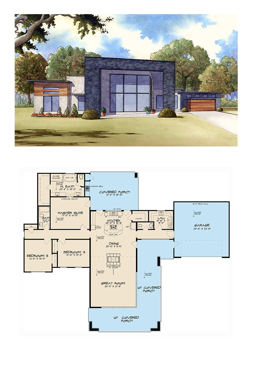 Modern Style House Plan 82411 With 3 Bed 3 Bath 2 Car Garage Courtyard House Plans House Plans With Pictures Modern Style House Plans