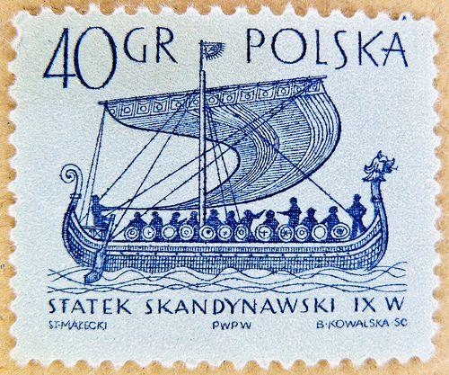 fine stamp Polska Poland 40 gr postage Viking ship of Gokstad (9th century a.d.) Wikinger Normannenschiff von Gokstad (9. Jh.)