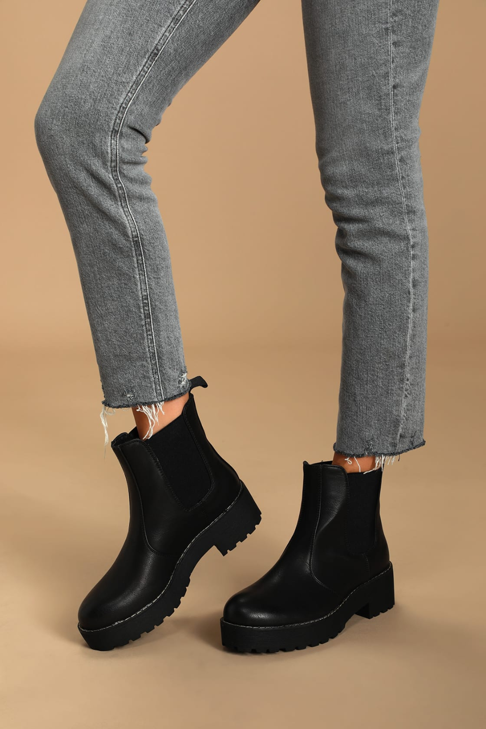 Margo Black Platform Ankle Boots Vegan Leather Boots Black