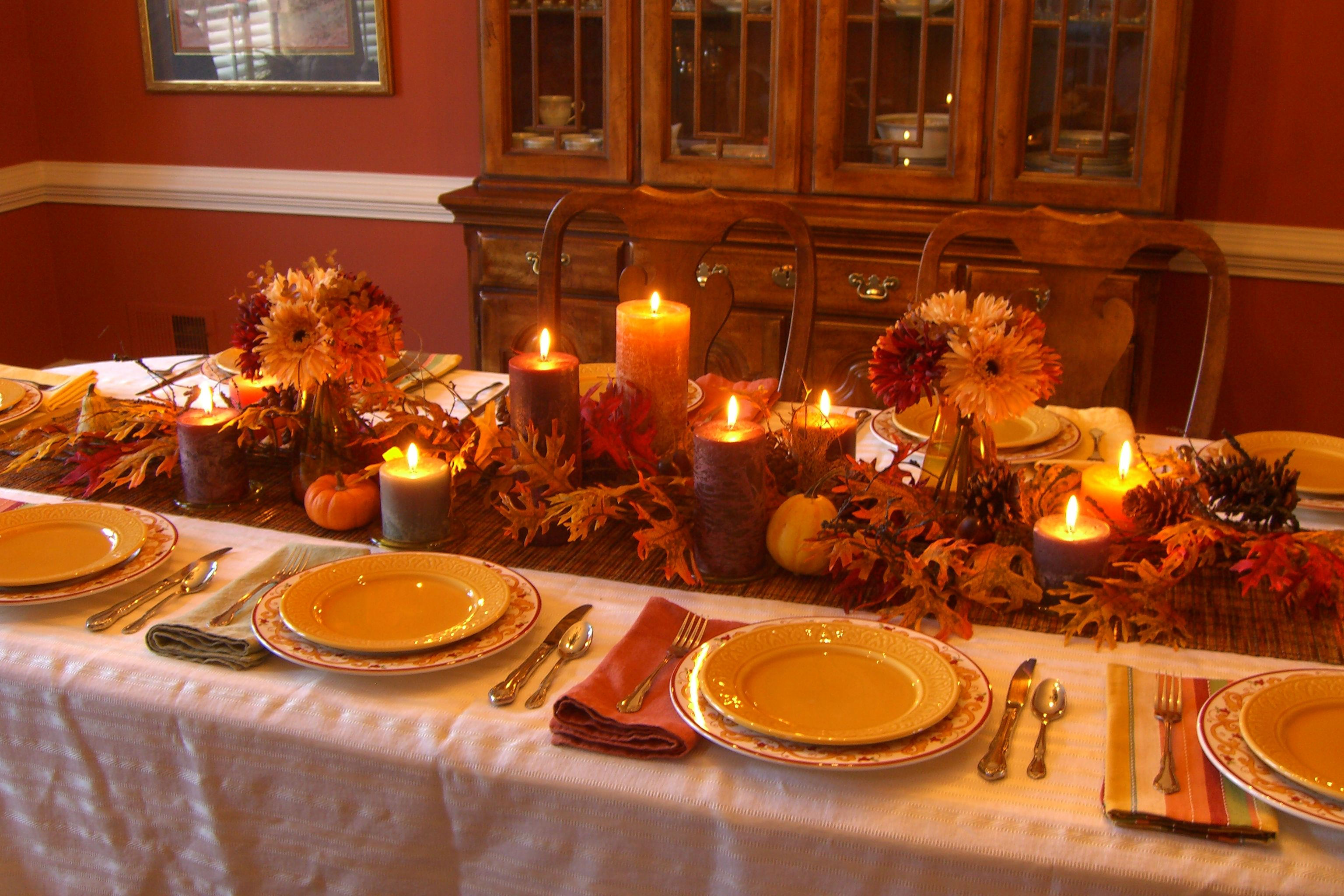 Fall table with candles fall candlelight decorating - Thanksgiving dinner table decorations ...