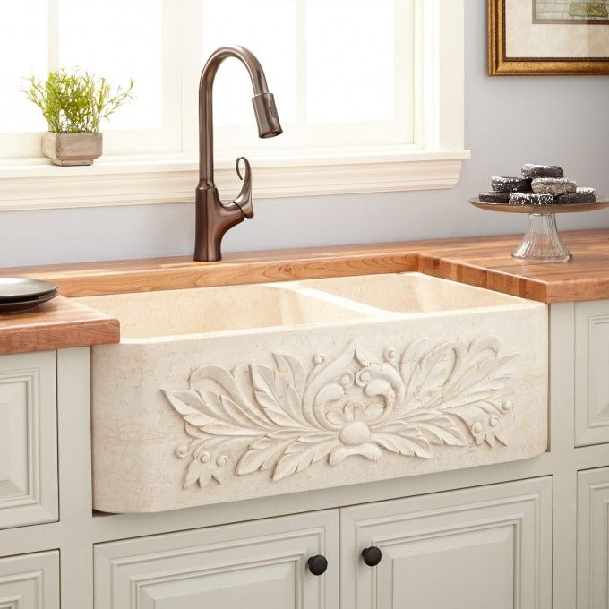 33 Quot Ivy 70 30 Offset Double Bowl Polished Marble Farmhouse