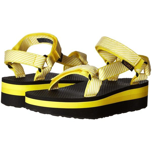 309447e7183 Teva Flatform Universal (Candy Stripe Yellow) Women s Sandals ( 25) ❤ liked  on Polyvore featuring shoes