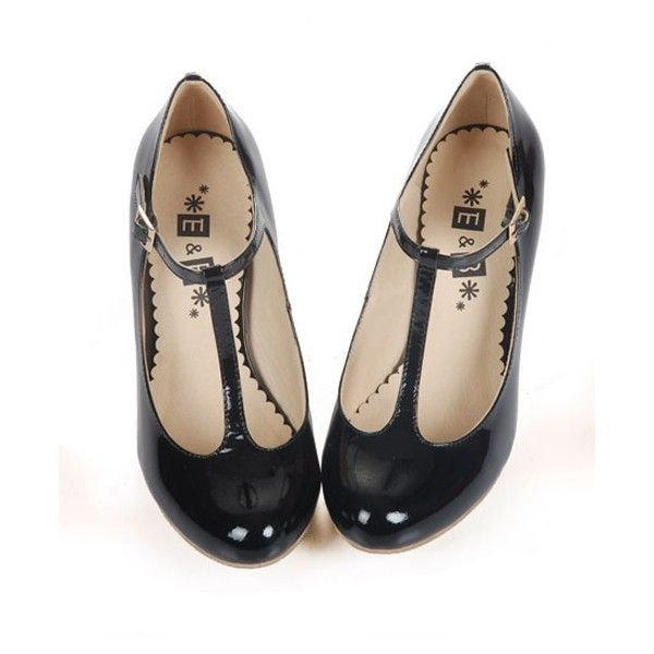72f296bd2a Retro Black T-bar Round Toe Leather Heeled Shoes ($84) ❤ liked on Polyvore  featuring shoes, heels, chicnova, black ankle strap shoes, round toe shoes,  t ...