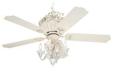 Traditional 52 Casa Chic Antique White Ceiling Fan With 4