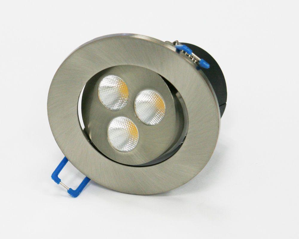 Led 3 Ceiling Spot Light Round Brushed Metal 4w Cool White Warm White Led Lighting Home Brushed Metal Led Spotlight