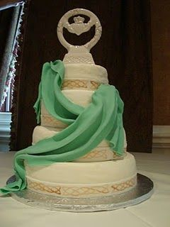 Celtic wedding cake with claddagh topper. Purchase at the Celtic ...