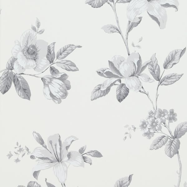 Luxury Vintage Floral Arrangement White And Grey Wallpaper