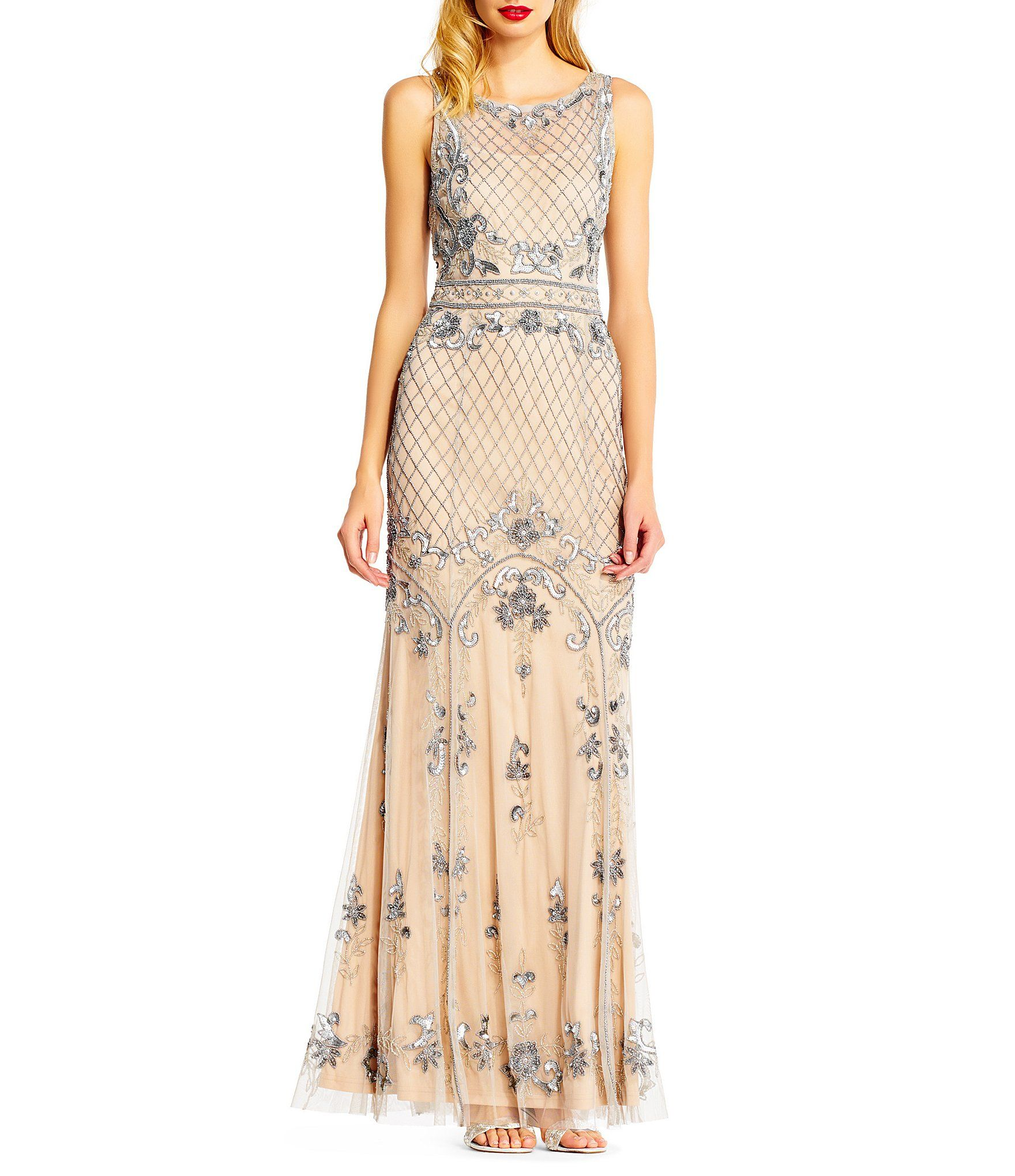Shop for adrianna papell beaded illusion mermaid gown at dillards