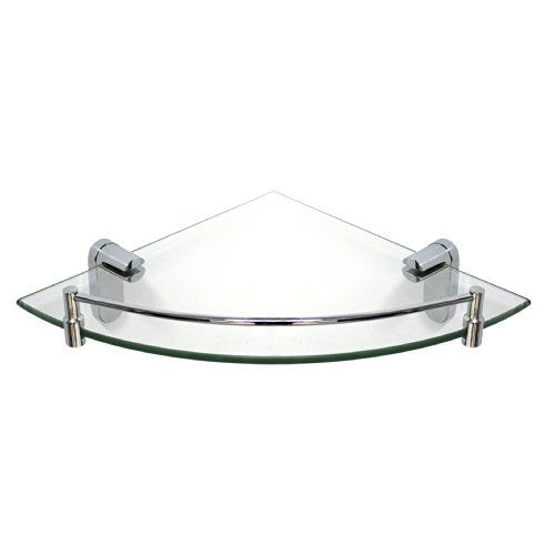 MODONA 8913-A Glass Corner Shelf with Rail Oval Series >>> Click image for more details.