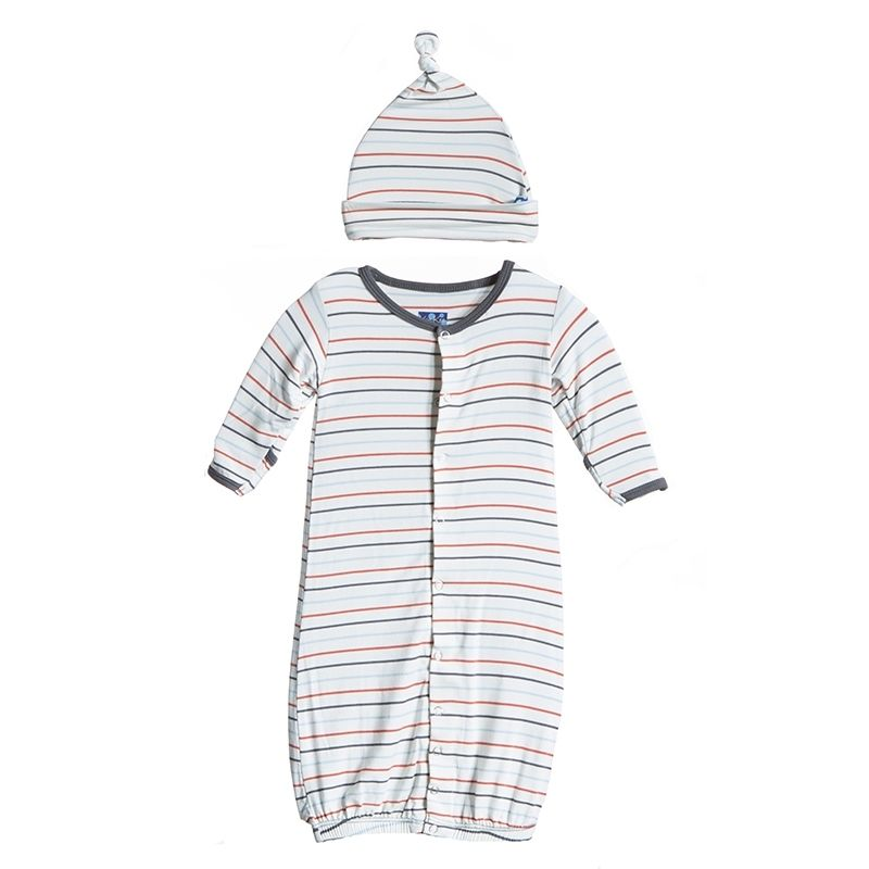 Kickee Pants - Print Layette Gown Converter & Knot Hat Set in Boy ...