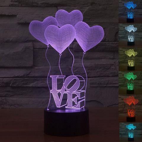 3D Illusion Balloon Love Lamp