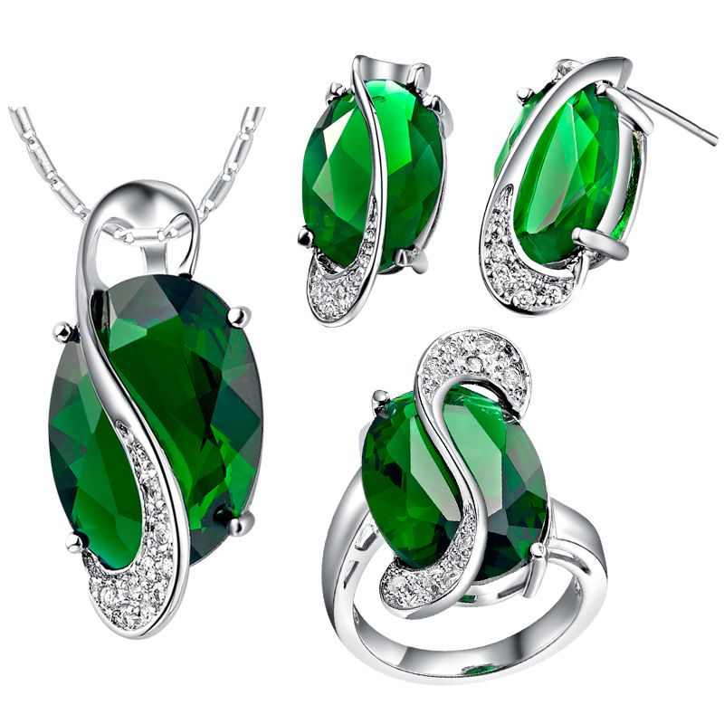 Green Rainbow Jewelry Set in Basket Set Oval Stone Wrap Micro CZ ...