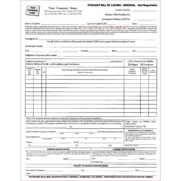 Bill Of Lading Form Word Document  Bill Of Lading Forms Templates