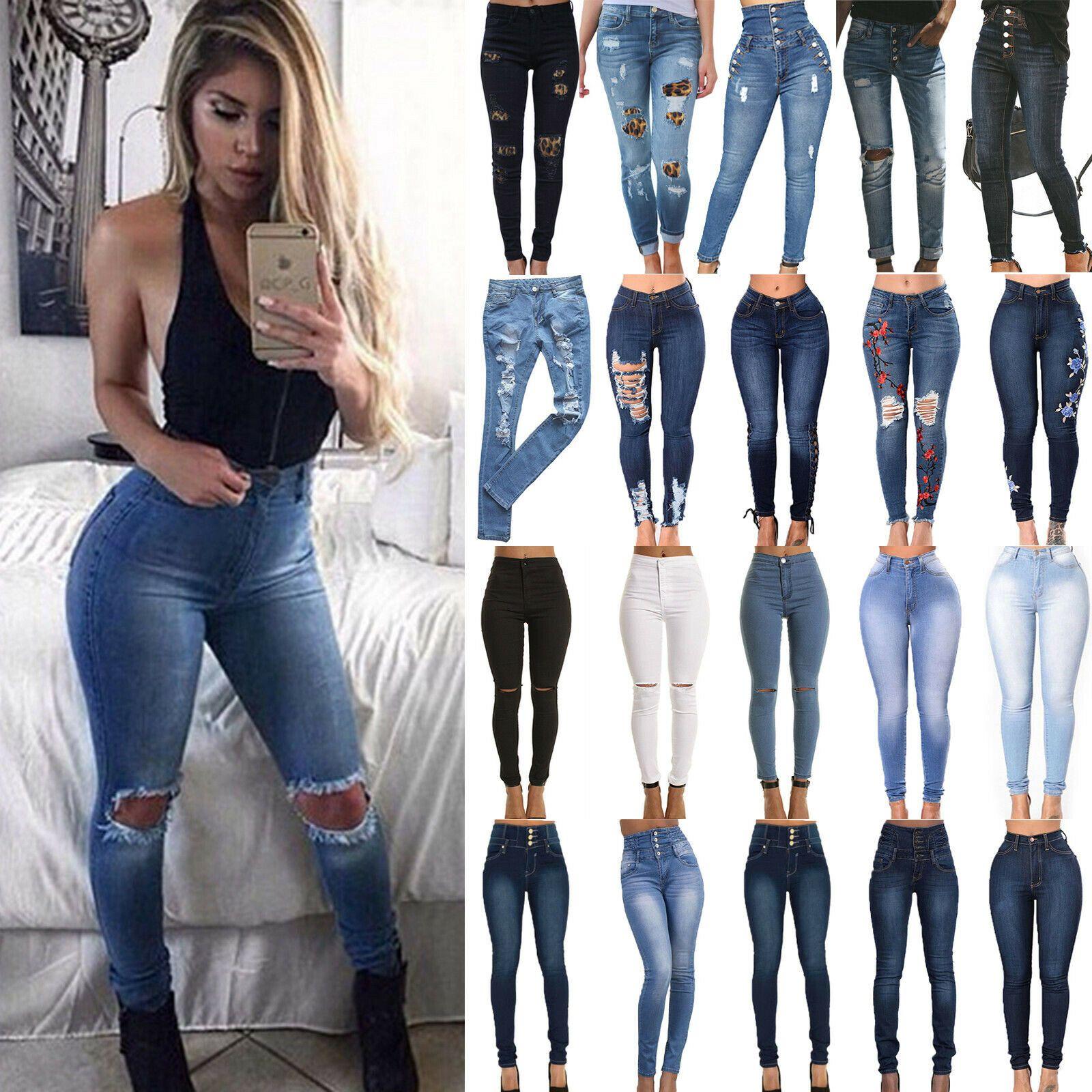 Women Ripped Skinny Denim Jeans Jeggings Casual High Waist Slim Trousers Pants