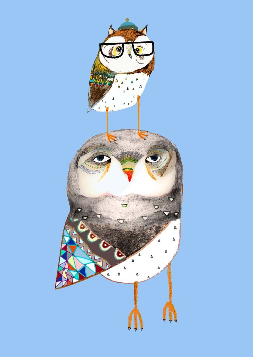 Daddy And Baby Owl By Ashley Percival Ilration Art Design Poster Kids Decor