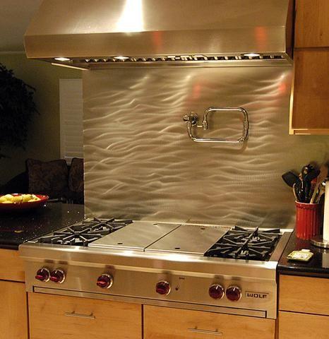 Currents Stainless Steel Kitchen Backsplash - SpectraMetal Kitchen