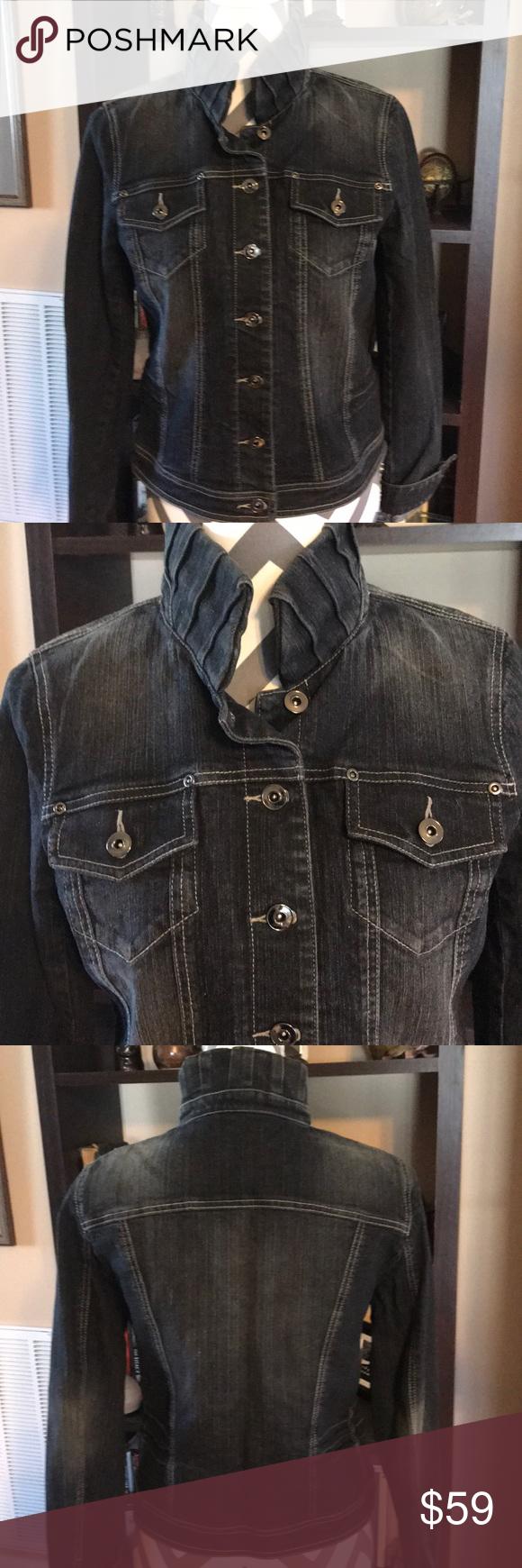 Etcetera Denim Jacket With Raised Collar Size 6 Denim Jacket Clothes Design Fashion Design [ 1740 x 580 Pixel ]