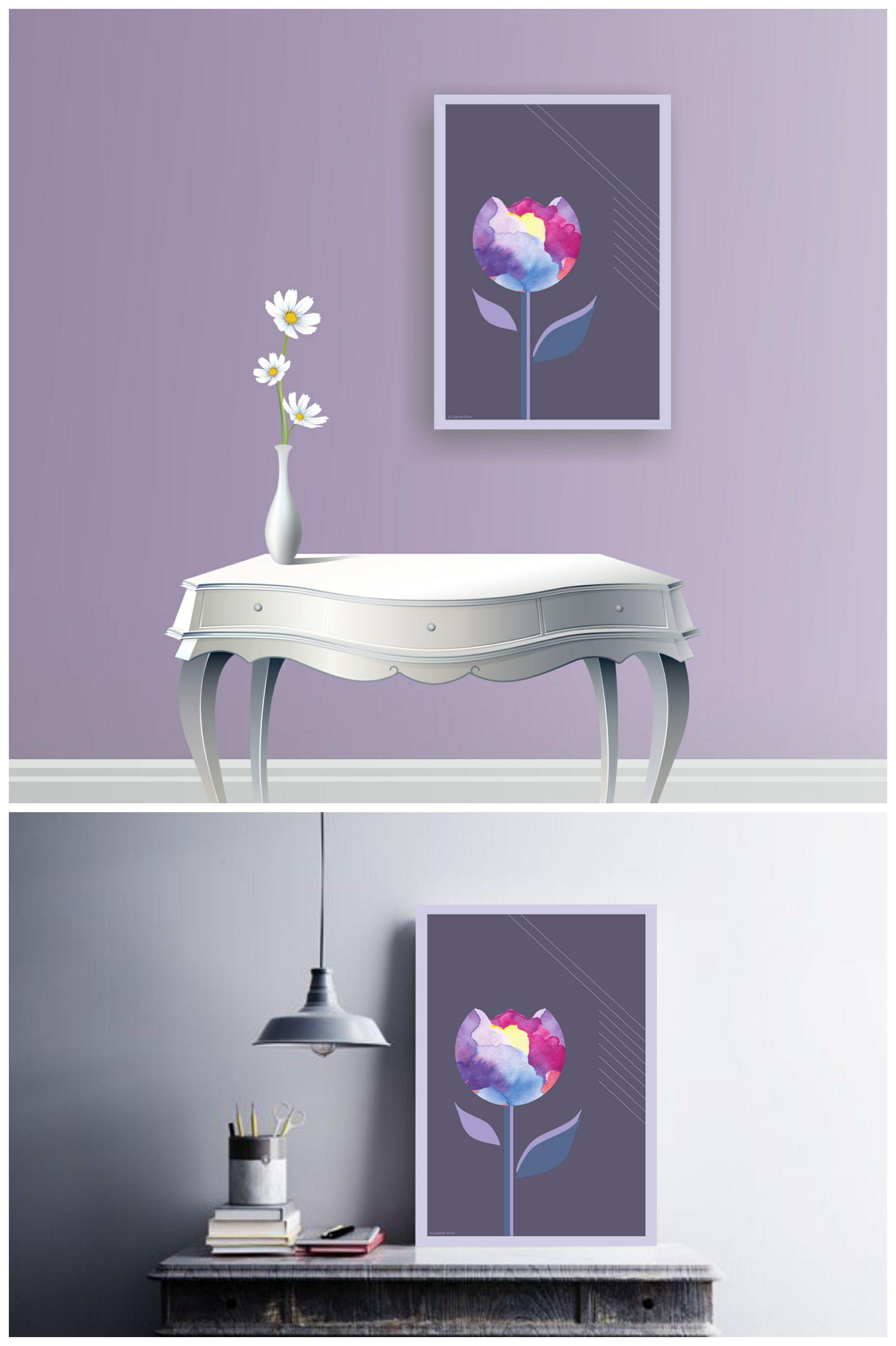 Wohnkultur design bilder livingroom wall décor flower art tulip blue modern wall art