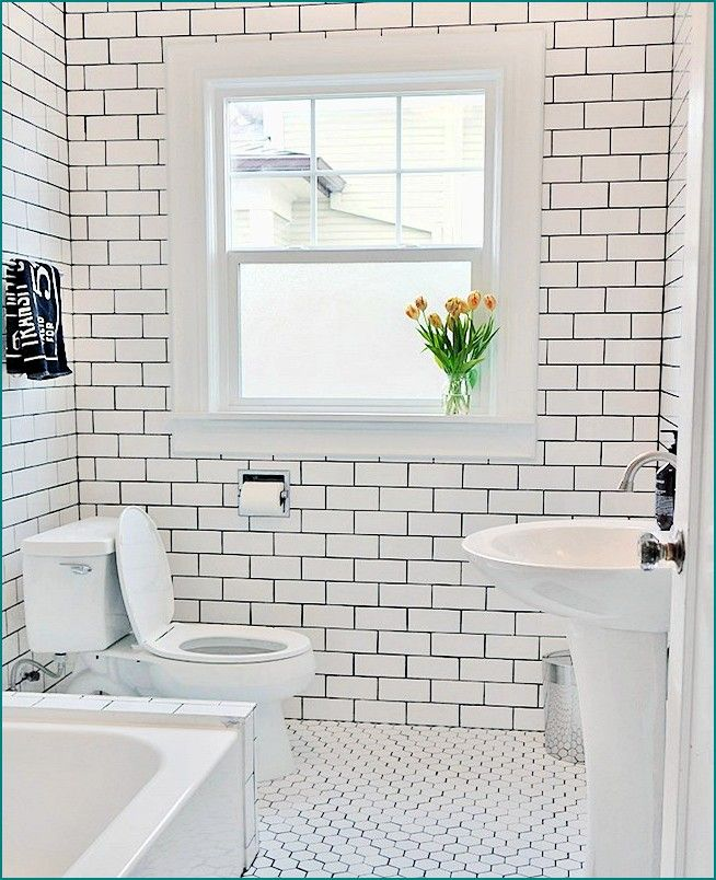 Bathroom Subway Tile Dark Grout floor and wall contrasting patterns | white subway tile bathroom