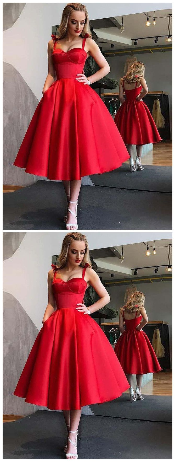 Aline straps midcalf red satin tea length homecoming dress with