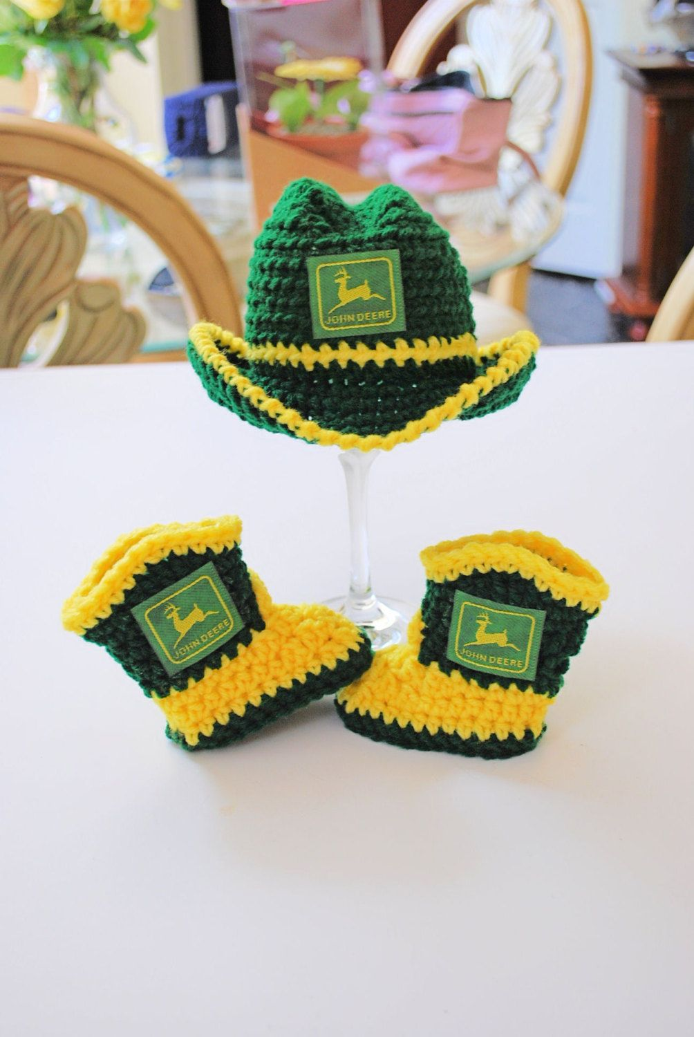 Crochet John Deere Inspired Cowboy Hat and by AuntieMCrochetCloset ... 864fdf070cc