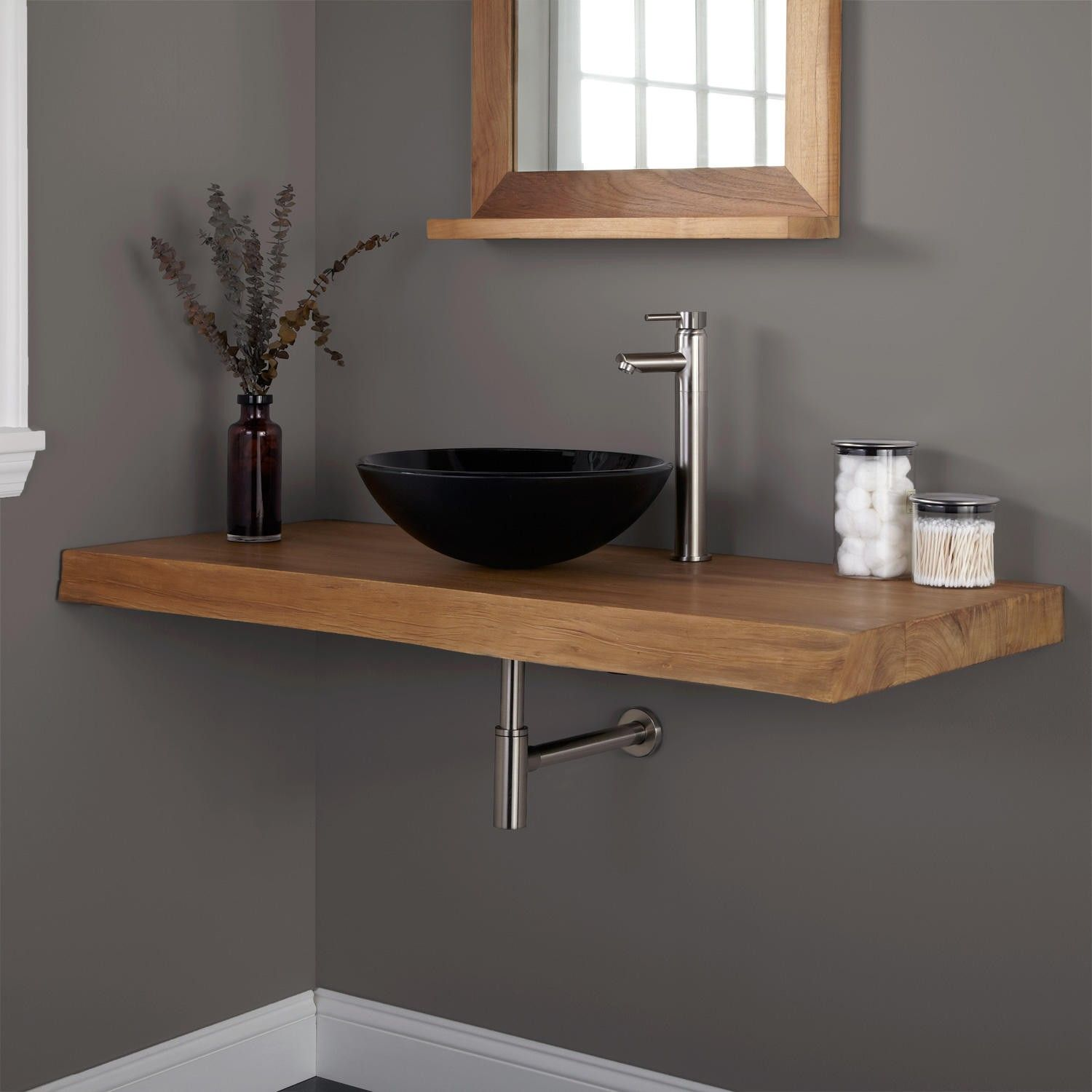 sink on top of vanity. 49  Natural Edge Teak Wall Mount Vanity Top for Vessel Sink