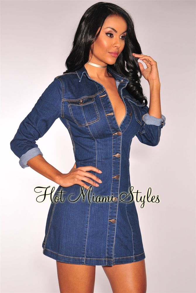 31237155bd Denim Button Up Long Sleeves Dress in 2019