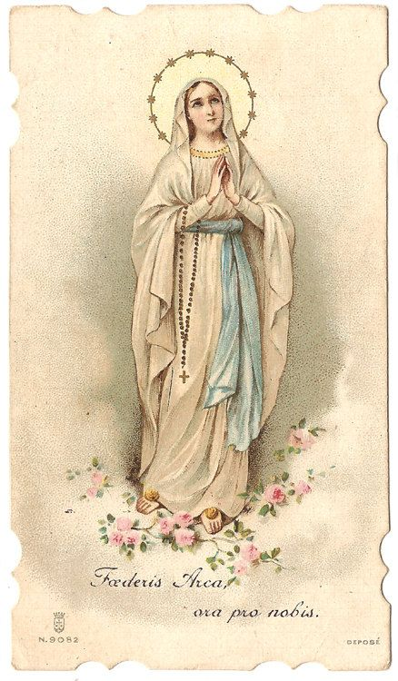Virgin Mary with Rosary & Pink Roses Queen of by 12StarsVintage