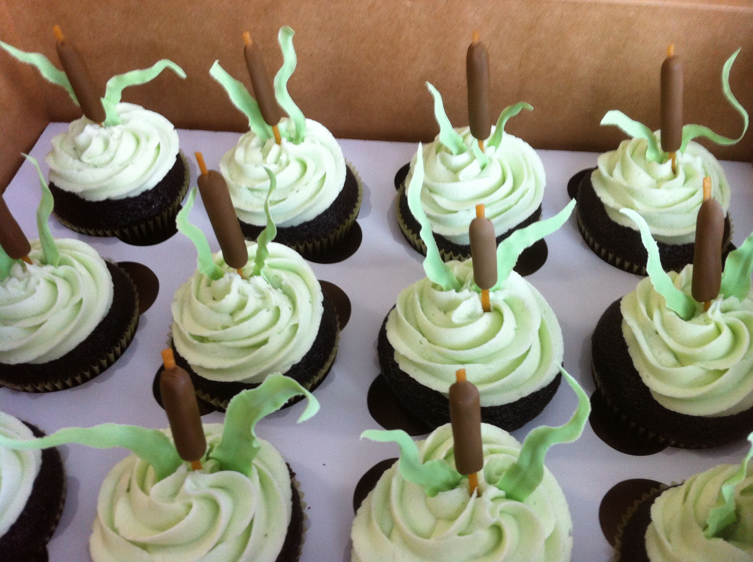 cattail cupcakes for fishing themed baby shower jenny crocker cakery