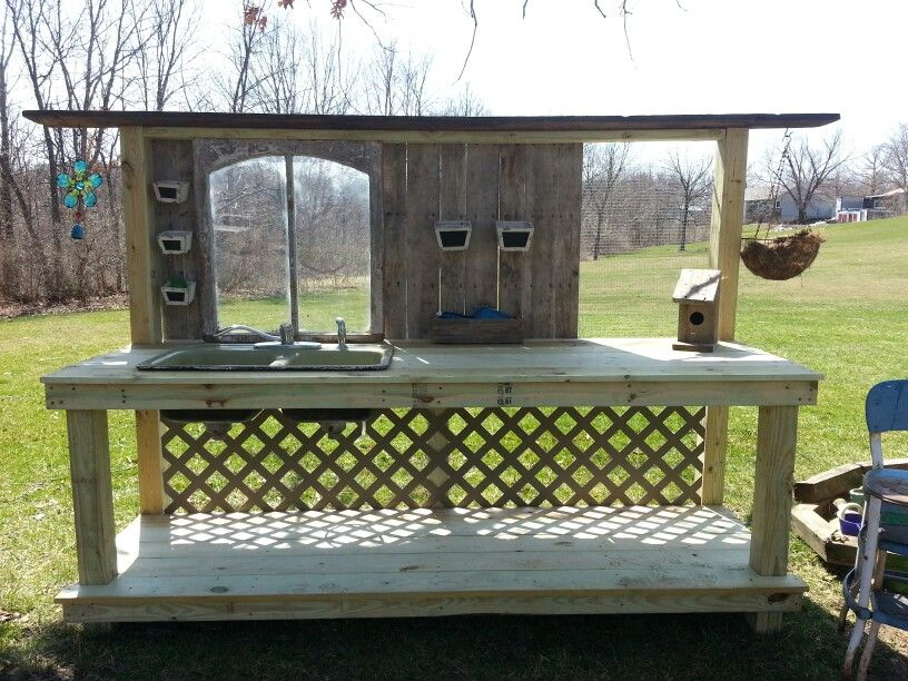 Potting Bench With Old Window Old Sink Chicken Wire And Some Pallet Wood My Husband And I