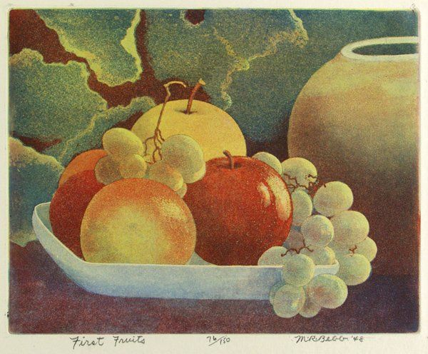 Maurice R. Bebb (American, 20th Century) - First Fruits - Color lithograph, 1948