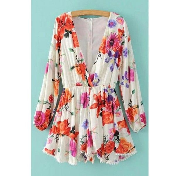 ac0499557f63 Plunging Neck Floral Print Long Sleeve Romper White ( 33) ❤ liked ...