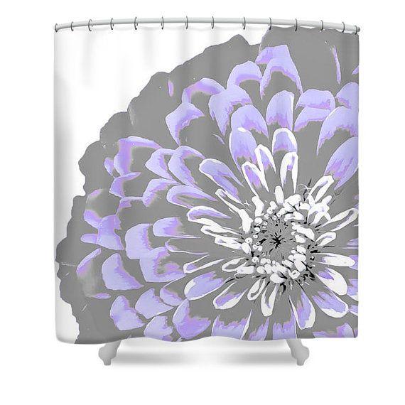 Grey Purple Flower Shower CurtainZinnia Gray Designer Bathroom Decor Lavender And Floral Print
