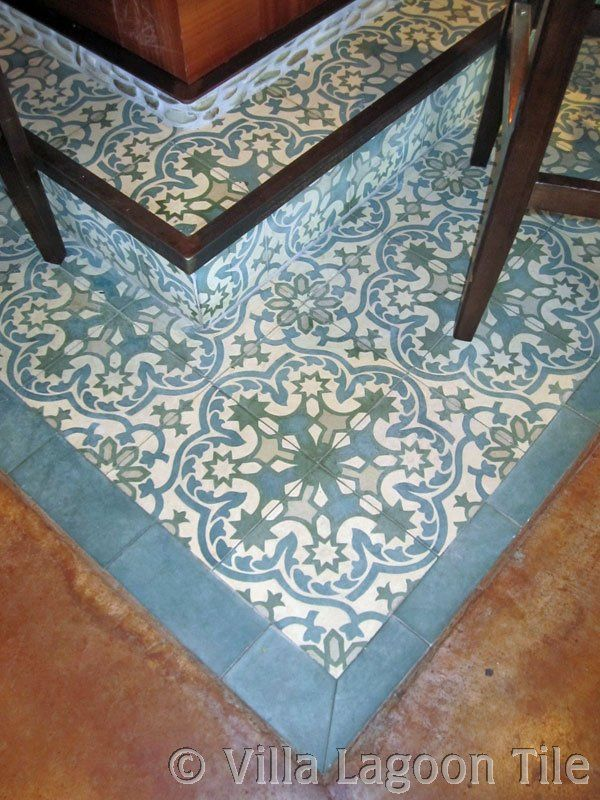 Blie Cement Tile With Nice Blue Border And Concrete Floor Bathroom