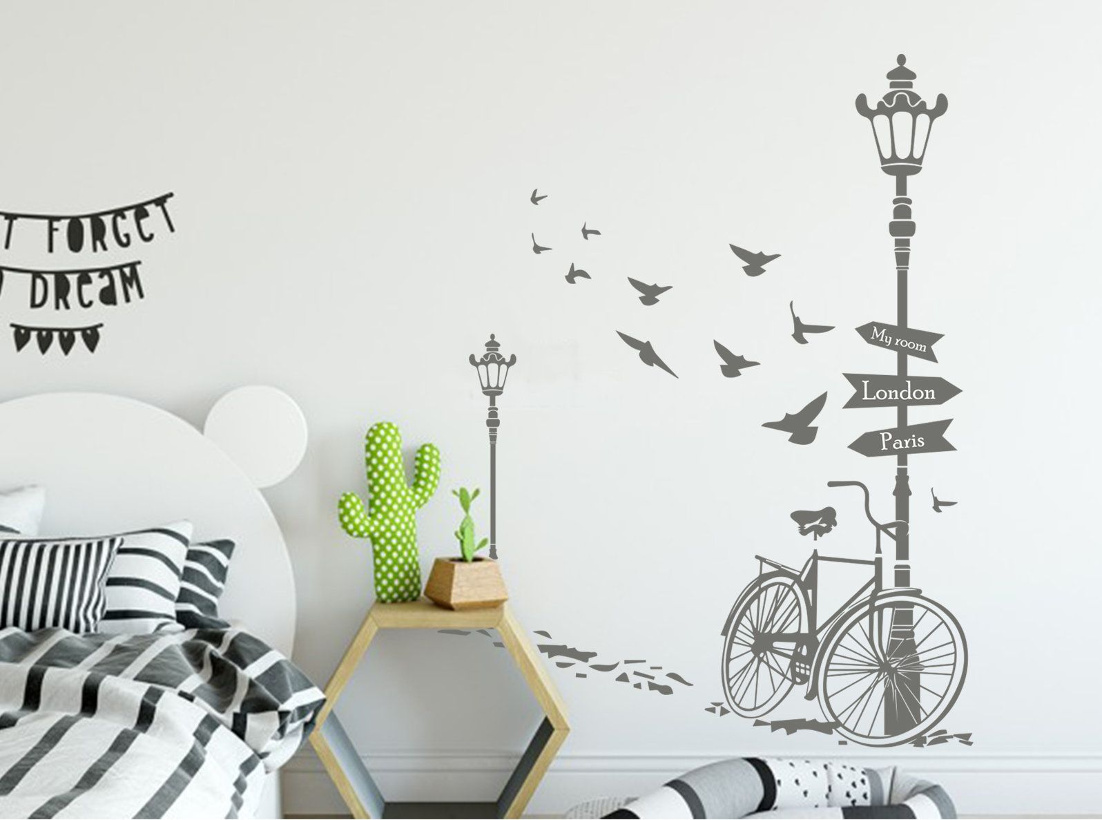 Entrance Wall Decor Bicycle Wall Decal Street Lamp Decal Birds