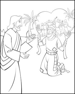 Sunday School Coloring Page - Jesus and the Ten Lepers | Bible ...