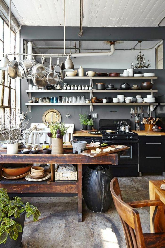 cocina con comedor en estilo rústico, muebles de cocina vintage de ...