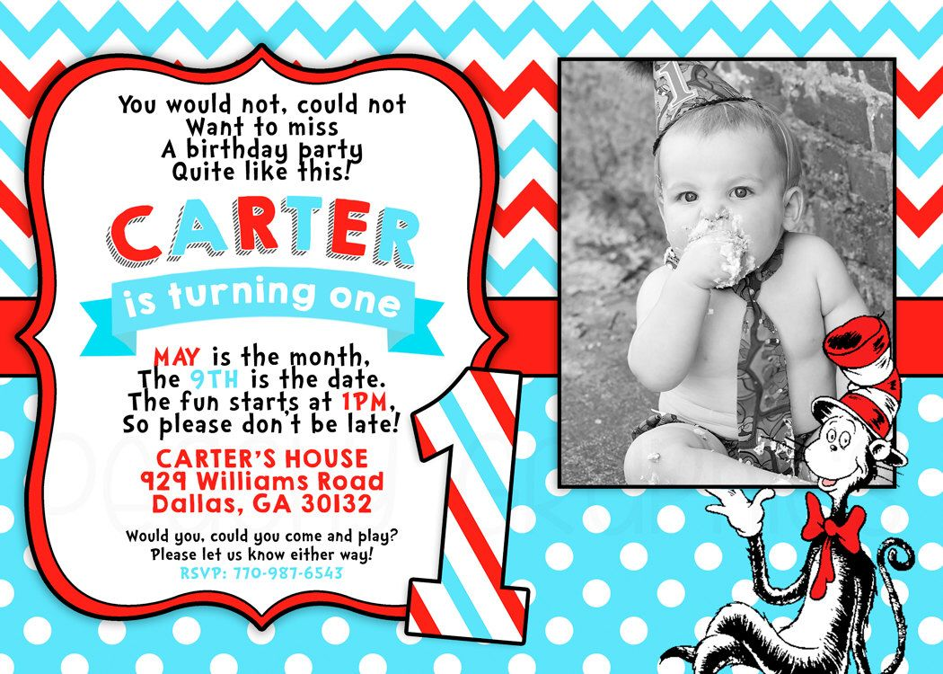 Printable Cat in the Hat Invitation - Dr Seuss Birthday Party ...