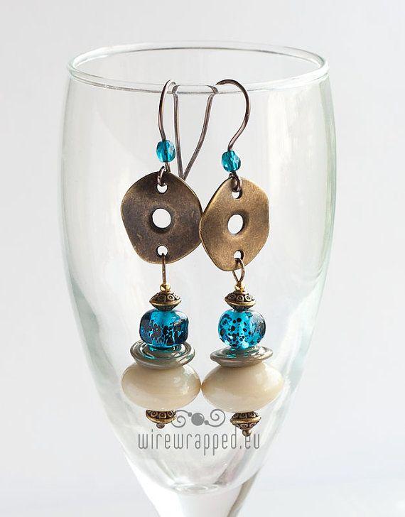 Vintage Bead Earrings,Handmade Earrings,Earrings,Czech Glass Earrings,Glass Heart Earrings,OOAK Earrings,Pearl Earrings,Valentine Gift