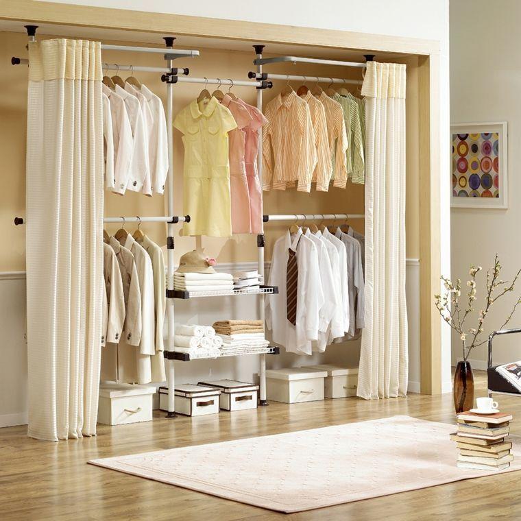 dressing avec rideau 25 propositions pratiques et jolies bedrooms closet rooms and room. Black Bedroom Furniture Sets. Home Design Ideas
