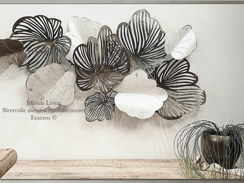Grote Moderne Metalen Wanddecoratie Grijs Creme Bruin 134 X 68 Cm Metaal Grijs Bruin