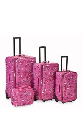 Rockland Pink Pearl 4 Piece Printed Luggage Set - Pink Pearl